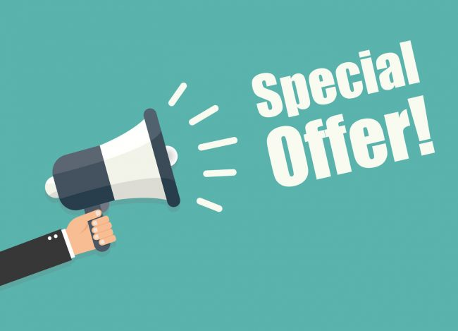 50416548 - hand holding megaphone - special offer